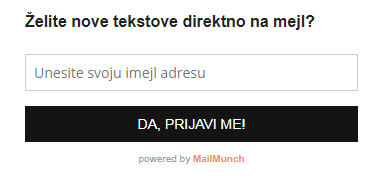 Forma za prijavu na newsletter © According to Kristina