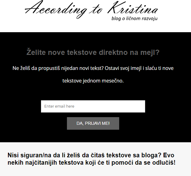 Prijava na newsletter © According to Kristina