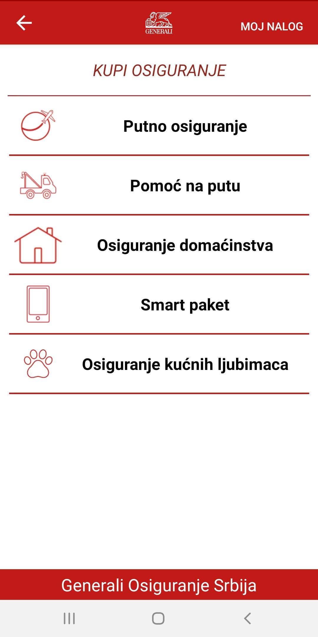 Kupovina putnog osiguranja preko Generali aplikacije