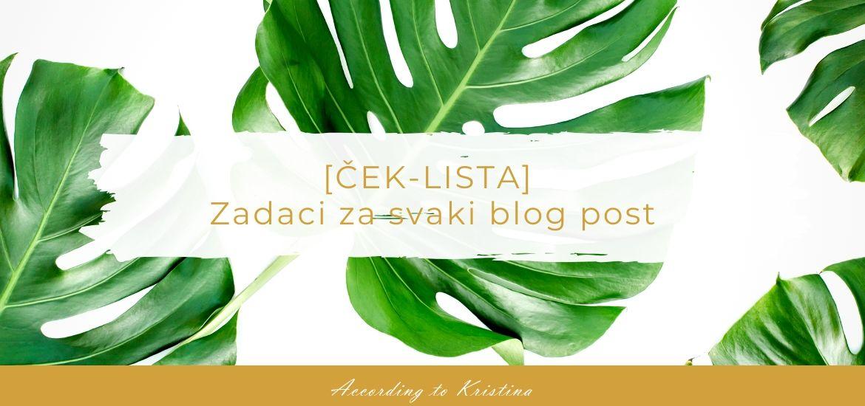 [ČEK-LISTA] Zadaci za svaki blog post